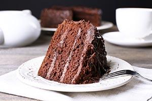白色餐盤上放了一塊巧克力蛋糕,並放了一副叉子的圖片,用來做alt描述的範例圖